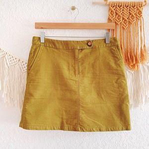 Anthropologie Textured Green Mini Skirt